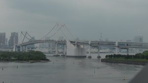 View of Tokyo and the Rainbow Bridge from Odaiba