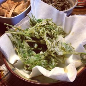 Fresh tea leaf tempura